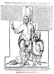 These Canadian Inuit were kidnapped by French sailors in 1566. (Notice the tattoos that appear on the woman's face.) This woodblock print is the oldest known European depiction of Eskimos drawn from life. After Taylor (1984: 510).