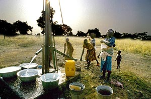 Pumping water in the Bétamarribé village of Koaba. North Benin is much drier and dustier than the tropical south.