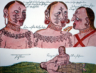 Mocoví body tattoos from the Argentinean Chaco (top). Mocoví woman tattooing a man (bottom), 1750.