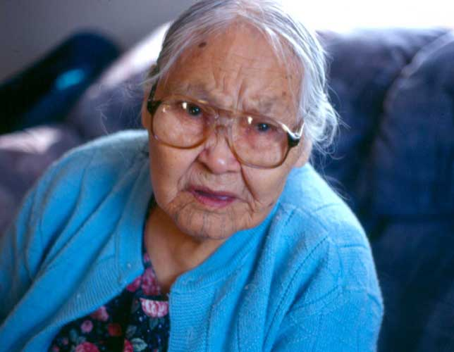 Sadie Sepila of Savoonga. Sadie was the last St. Lawrence Island Yupik woman to wear chin stripes (tamlughun) and hand tattoos (igaq).