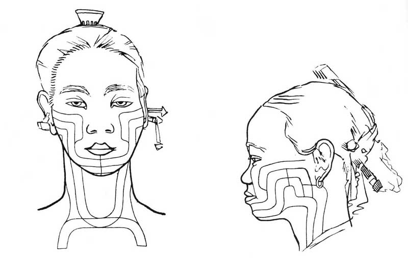 Drawings of Basadung Li women's body tattooing.
