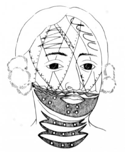 Reconstruction of Brant's facial tattoos.
