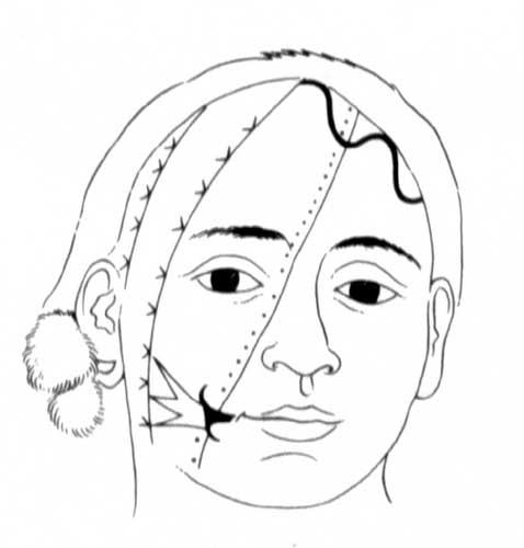 Reconstruction of John's facial tattoos.
