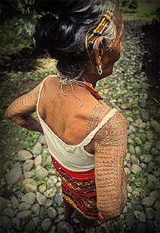 Beautiful fern design tattoos on the back of an elder Kalinga woman's arm. A centipede crawls across her shoulder.