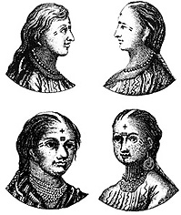Tattooed Abipón women, 1750.