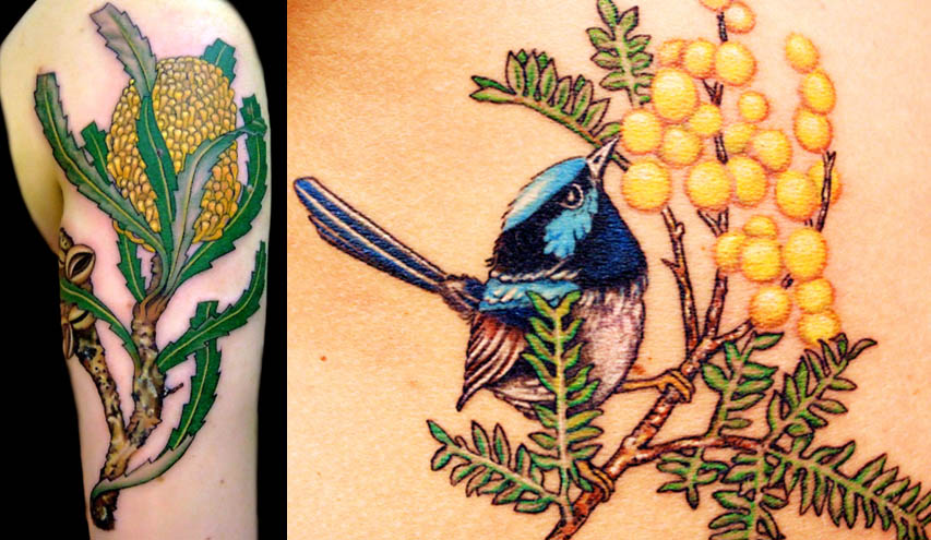 ebc1100b74757 (left) Banskia tattoo. Aboriginal peoples collected the nectar from the  plant and also